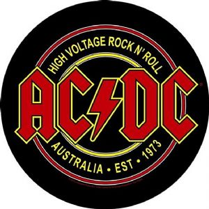 AC/DC High Voltage Australia 1973 round jumbo sized sew-on cloth backpatch  (ro)